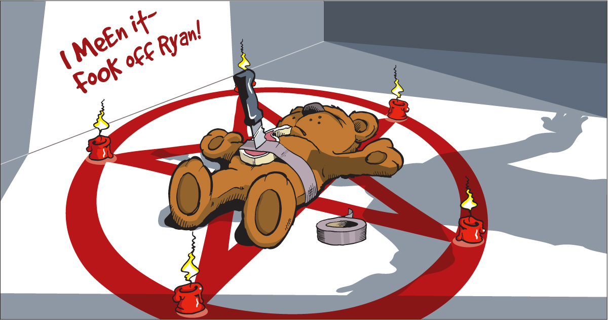 """Fook off ryan"" sacrificial teddy image"