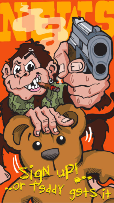 Monkey holding a gun to the viewer - sign up or the teddy gets it